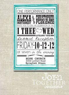 Musical Performance Wedding Invite - DIY Printable. $15.00, via Etsy.