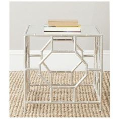 Safavieh Rory Iron and Mirror Accent Table in Silver