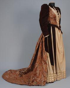 Gown, 1892, Made of velvet, satin, wool, and taffeta
