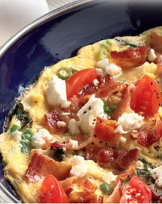 Bacon-feta frittata, all your favorite flavors wrapped up into one great breakfast. #bacon #frittata #feta