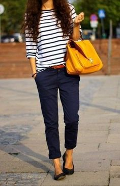striped shirt, blue shpants, colored purse, loafers