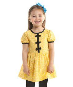 Look at this #zulilyfind! Yellow Bow Dress - Toddler & Girls #zulilyfinds