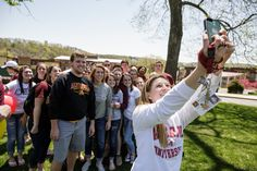 #Alvernia students take a break from hanging out to take a group #selfie!