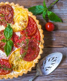 Tomato Pie with Basil and Gruyere Cheese from Southern Boy Dishes