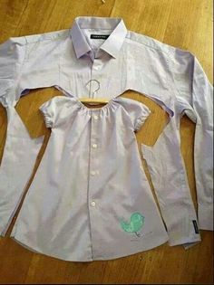 Recycle old men's dress shirt (with worn-out collar) into little girl's dress...