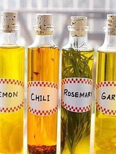 Homemade Infused Olive Oils.