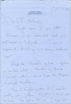 Jacqueline Kennedy writing to Fosburgh discussing paintings, (several of famous Americans) to purchase or donate, presumably to hang in the White House.  Citation: Jacqueline Kennedy Onassis, Hyannis Port, Mass. letter to James Whitney Fosburgh, 1961 Oct. 22. James Whitney Fosburgh papers, Arc...