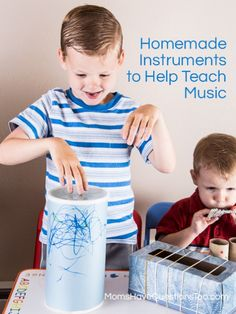"""Toddler Music Activity - Homemade Instruments - Oatmeal can """"drum,"""" tissue box """"guitar"""" and more!"""