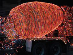 spinning cement truck in parade