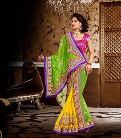 USD 135.79 Green and Yellow Chiffon Embroidered Designer Lehenga Saree   33722