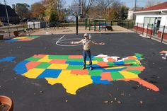 Good idea for a take action project: Ryan approached an inner-city school about resurfacing & painting games on the playground. Loving the idea, the principal said he wished someone would someday paint a US map to inspire students to learn their geography. Ryan found a template online, about $ 200, and our troop/friends spent two weekends on the project (about 180 man-hours, total). Free & for-purchase templates are also available for world maps, basketball courts, hopscotch & 4-square.
