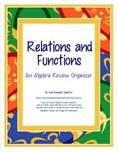Relations and Functions: An Algebra Review Organizer