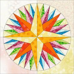 Kaleidoscope Mariner's compass quilt block pattern ~ Foundation piecing  Free Pattern!