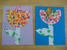 polka dots, flower crafts, easter crafts, art, tulip