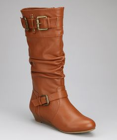 Take a look at this Chestnut Double-Buckle Boot by Bamboo on #zulily today!