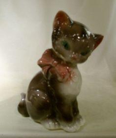 Royal Copley brown ceramic cat 8h