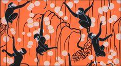 de Gournay Deco Monkeys in Terracotta wallpaper