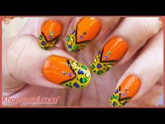 Neon Colored Leopard French Nail Art Design By KhoobSurati.com
