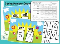 Spring Number Order - Math Center Game - Place Value