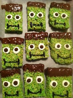 Frankenstein Rice Krispies : green food coloring in the rice krispies recipe + melted dark chocolate hair and mouth + melted white chocolate eyes + chocolate chips for pupils... super fun for Halloween!