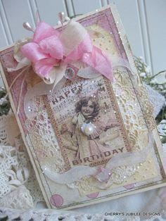 shabby chic party girl HAPPY BIRTHDAY GLITTERED stitched handmade card