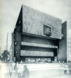 Whitney Museum rendering. the style & aesthetic of this rendering is so lovely. #drawing #architecture