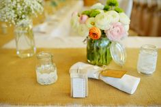 Rustic wedding - Favours, name tags, lace jars, flowers - all  hand made.