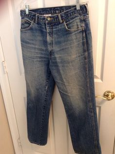 80s Calvin Klein Men Jeans //  Distressed vintage designer jeans men // jeans size 34 waist 30 inseam // back to school on Etsy, $29.50