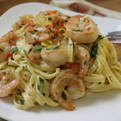 Lemon-Shrimp Pasta. Yuuuum. I'd love this for a big lunch to last me though until a late dinner.