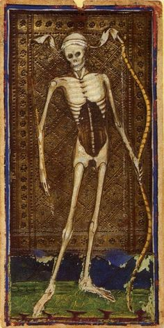 """""""Death"""" card from the Visconti Tarot deck, 1455    The Visconti-Sforza tarot deck is a 15th century Tarot deck and one of the oldest known to exist."""