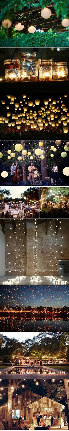Love the atmosphere from pretty white lights.  Great for backyard parties!