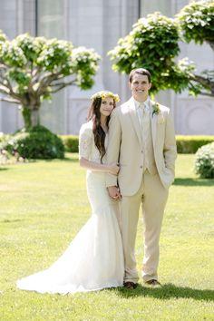 Elbow sleeve modest wedding dress from Alta Moda.