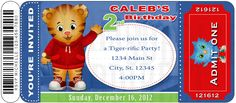 Cute Daniel Tiger's Neighborhood Digital Birthday Party Invitation/ Ticket Style,