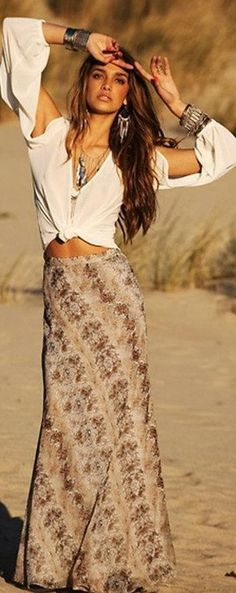 Bohemian gypsy print maxi skirt, modern hippie layered necklaces & bracelets FOLLOW http://www.pinterest.com/happygolicky/the-best-boho-chic-fashion-bohemian-jewelry-gypsy-/ for the BEST boho chic fashion trends & jewelry.