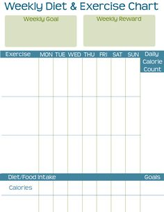 Weekly Diet & Exercise Chart {Free Printable}