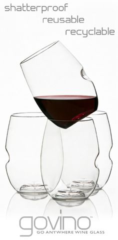 Govino: Shatterproof, reusable, recyclable and with a thumbhold. 4 for $11.95.