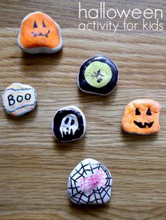 Halloween activity for kids - Sharpies on rocks