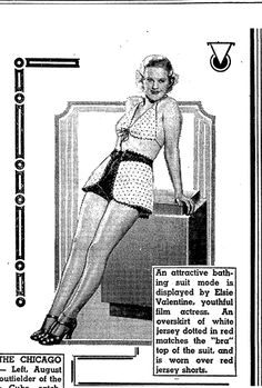"""A newspaper ad for the latest swimsuit fashion, published in the National Labor Tribune (Pittsburgh, Pennsylvania), 10 April 1937. Read more on the GenealogyBank blog: """"Great-Grandmother's Swimsuit in Vintage Fashion Articles & Photos."""" http://blog.genealogybank.com/great-grandmothers-swimsuit-in-vintage-fashion-articles-photos.html"""