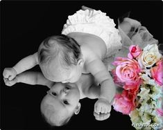 Baby on a Mirror. So cute!!