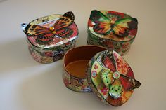 Small decoupage boxes with Dover clip art butterflies. Available on Etsy http://www.etsy.com/shop/Jemyem #dover #clipart