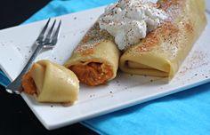 Pumpkin Pie Blintzes- perfect for Thanksgivukkah!