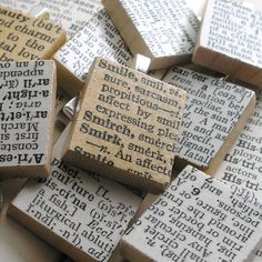 not as pendents but just as decorations with clever words on them on tables    Vintage Dictionary Scrabble Tile Pendant. You Select Word.