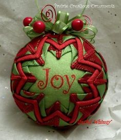 Quilted Christmas ornaments. I've done these in the past, but I like centering a word (Joy) in the ornament. Hmm. May have to resurrect this pattern for craft night!