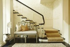 interior design, benches, stairs, stairway, interiors, wallpapers, foyer, stair runners, entryway