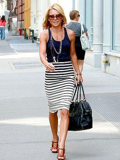 Kelly Ripa, stripe skirt, tank