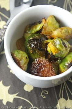 Sides: Sauteed Brussels sprouts with caramelized garlic, lemon & chilli