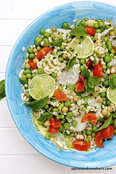 Healthy and Beautiful Salad Idea - Barley Salad with Chickpeas, Fava Beans & Peas #skinnyms #cleaneating #salad #recipes