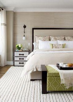 Beige and green bedroom.