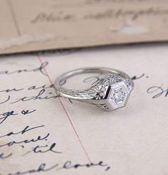 Edwardian Trussed Filigree Engagement Ring, $900.00