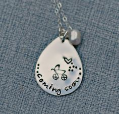 Personalized Coming Soon Due Date Necklace by 3LittlePixiesShoppe, $41.00